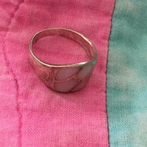 Jewelry - Sterling ring with pink agate, 8